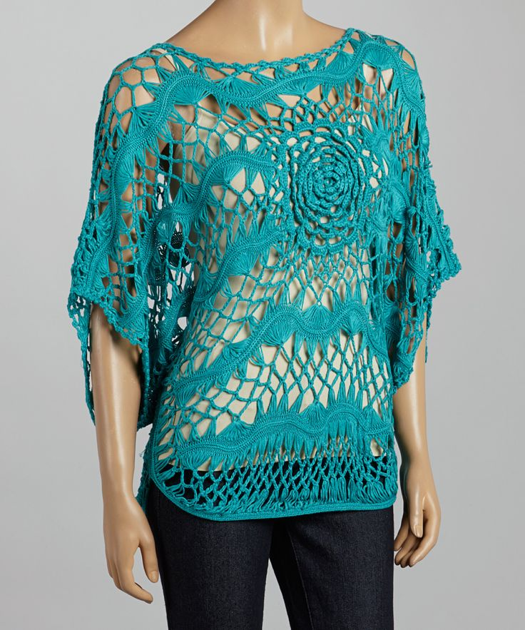 Blue Rose Crocheted Cape Sleeve Top | Daily deals for moms, babies and kids