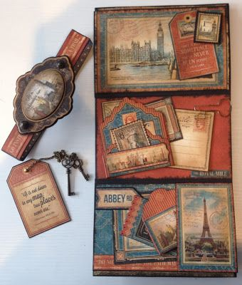 6 x 4 Mini Album Booklets Ideas featuring Graphic 45 Cityscapes. By Anne Rostad