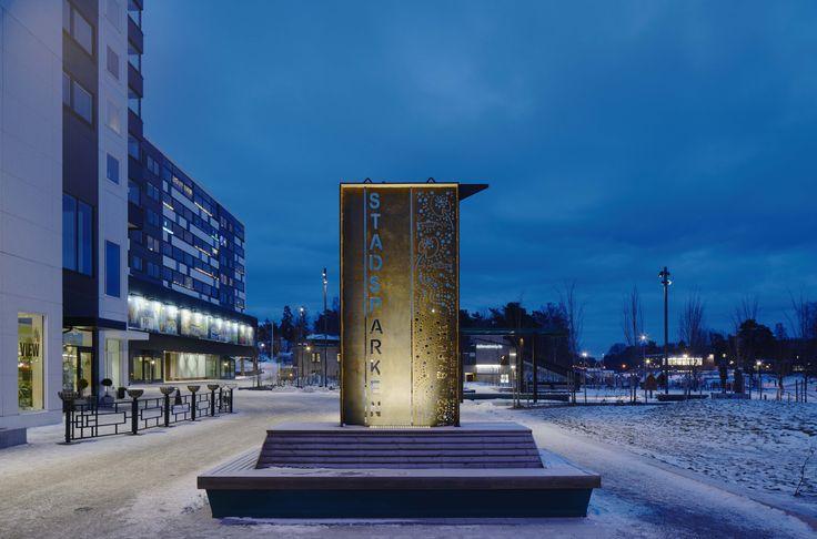 /Tyresö city park/ lighting design by Black ljusdesign - Park lighting - Lighting design - Public spaces - Signage lighting