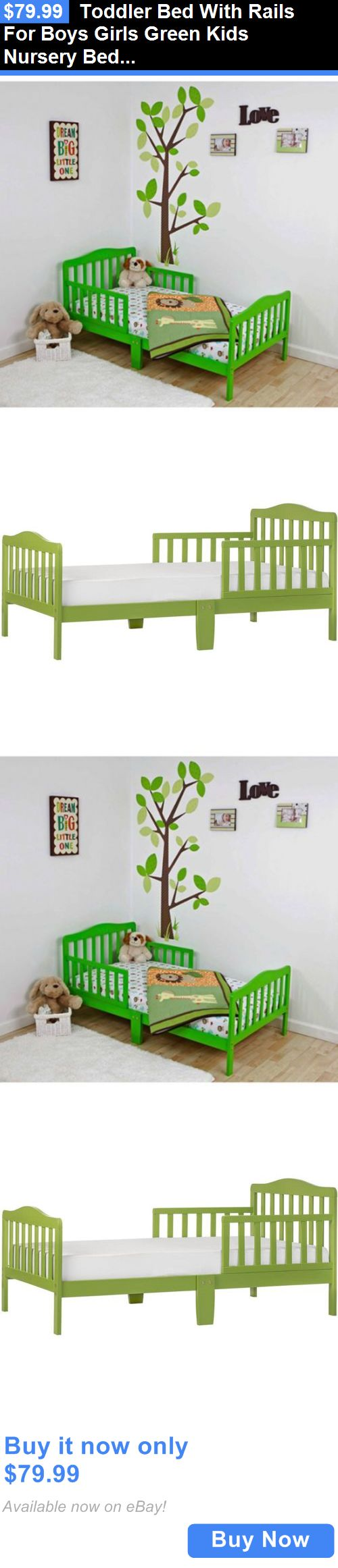 Kids Furniture: Toddler Bed With Rails For Boys Girls Green Kids Nursery Bed Furniture Wood BUY IT NOW ONLY: $79.99