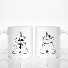 Lot de 2 MR et Mme Mugs Caticorn Couple, chat Licorne Couple Mugs, cadeau de mariage, cadeau de fiançailles, cadeau d'anniversaire, cadeau Animal tasses à café