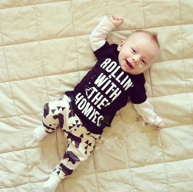 New 2016 baby boy clothes t-shirt + pants 2pcs suit