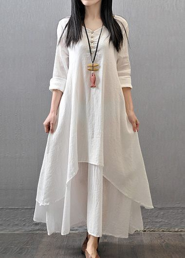 V Neck Long Sleeve White Maxi Dress, casual, modest and dressy, free shipping worldwide at rosewe,com, check it out.
