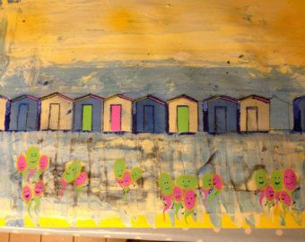 Charmouth beach huts by Boodyrs on Etsy