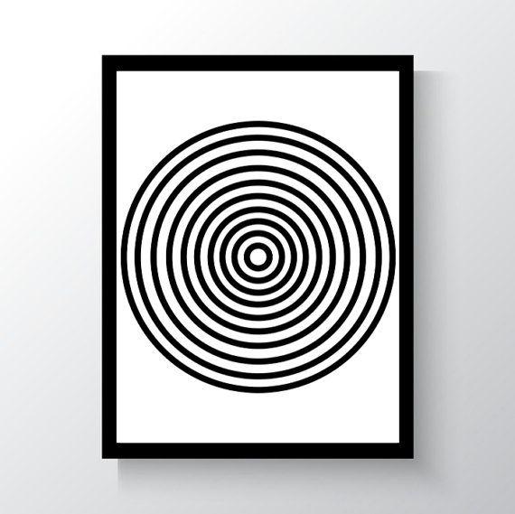 Circles Upon Circles Digital Print Black and by DropOfSunPrints