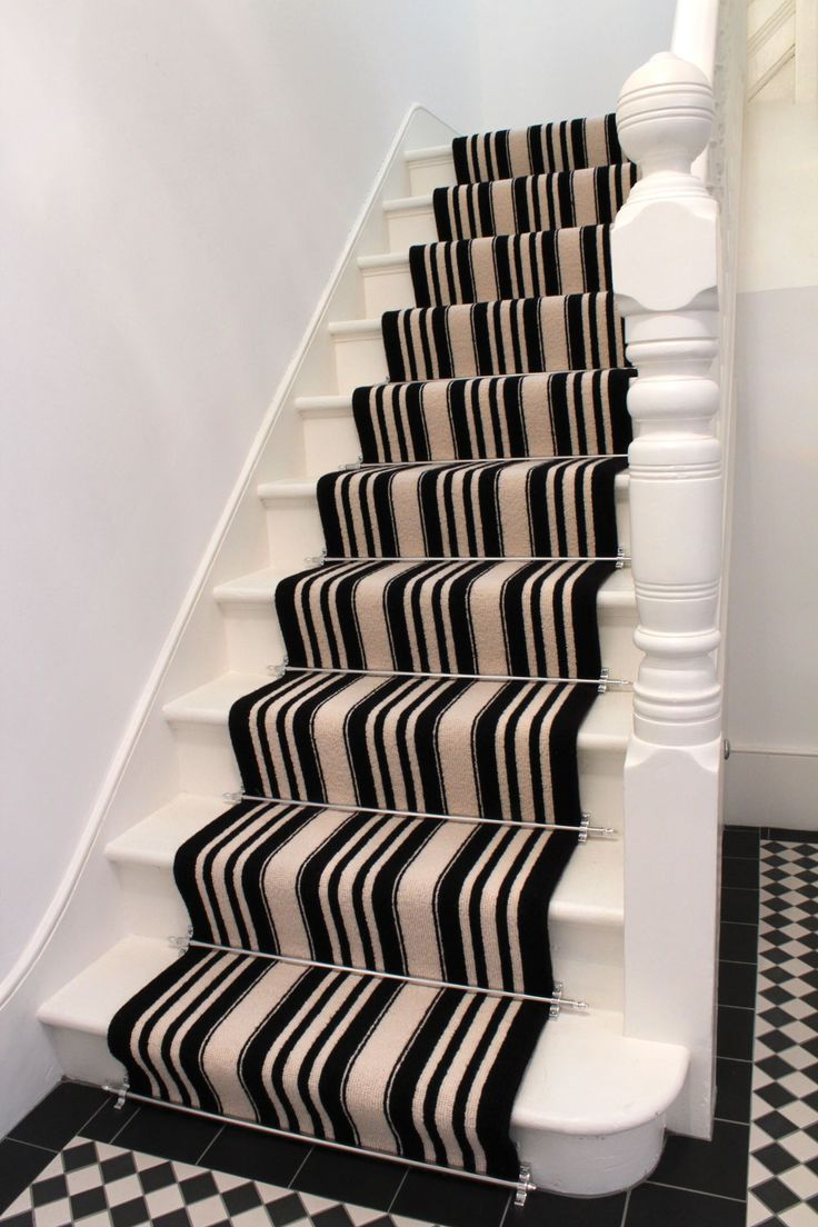 Black And White Striped Stair Carpet | The Flooring Group