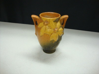 Vintage Roseville Brown Green Yellow Clematis 6 1 2 Quot Vase 102 6 Ebay Pottery Mccoy Roseville