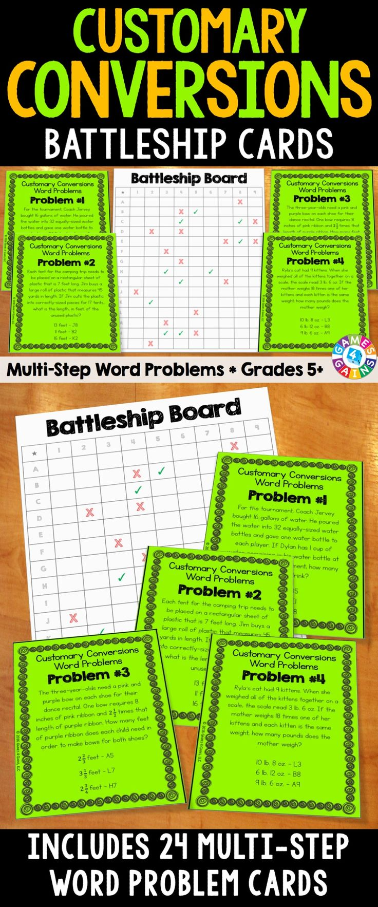 Customary Measurement Conversions Battleship Cards make solving multi-step word problems with CUSTOMARY conversions fun! Included are 24 challenging multi-step word problem cards and a single-player battleship board for students to solve as they work their way through each problem.