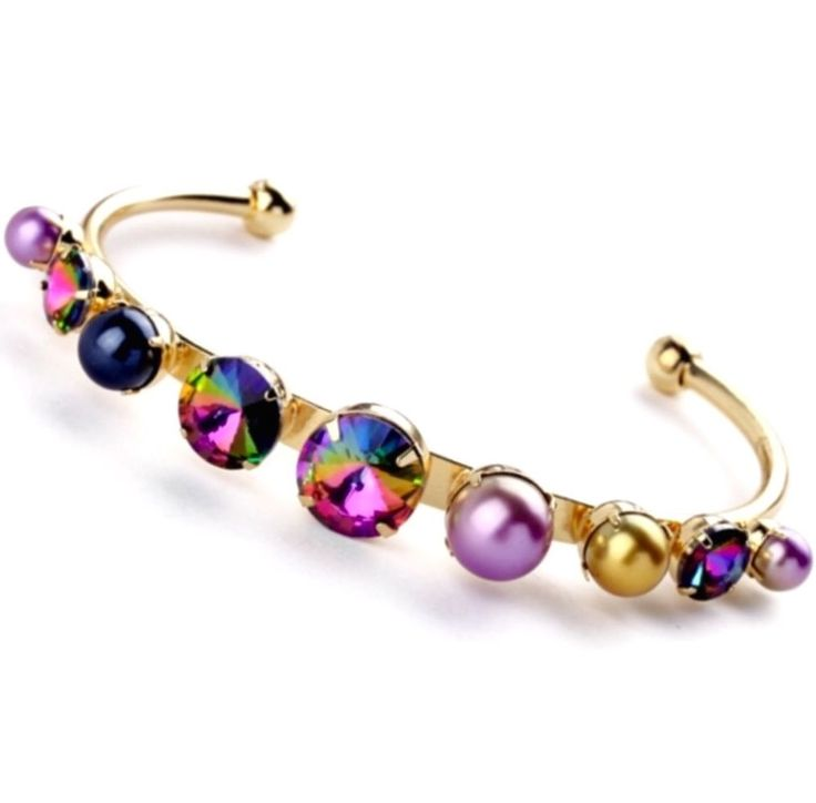 Red Purple Blue Green Pearl Diamant Crystal Rhinestone Gold Cuff Bangle Bracelet | eBay