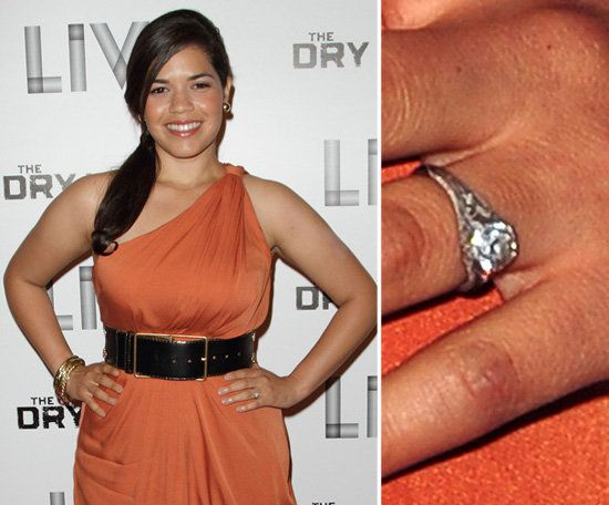 Pin For Later The Very Best Celebrity Engagement Rings America Ferrera Accepted A Four Carat Round Cut Diamond In Platinum Setting Worth