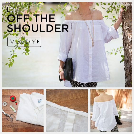 Happy May everyone! I can't get enough off-the-shoulder tops + dresses for  spring. These styles look so perfectly laid-back and summery and have such  a cute bohemian vibe. I had pinned this super cute DIY a while back with  directions for making off-the-shoulder shirts out of old men's  but