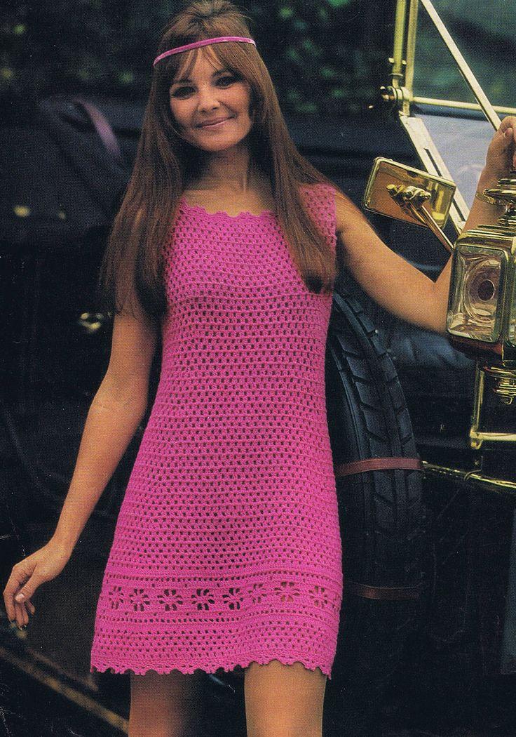 VKNC210 Vintage 1960's Crochet Ladies Dress Pattern cool cotton summer dress.