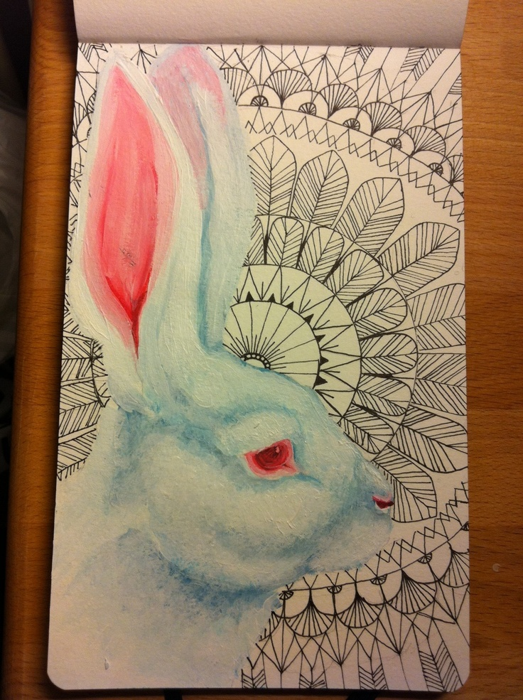 hoppity-hop.  White rabbit in acrylics, doodles in staedtler-pen.