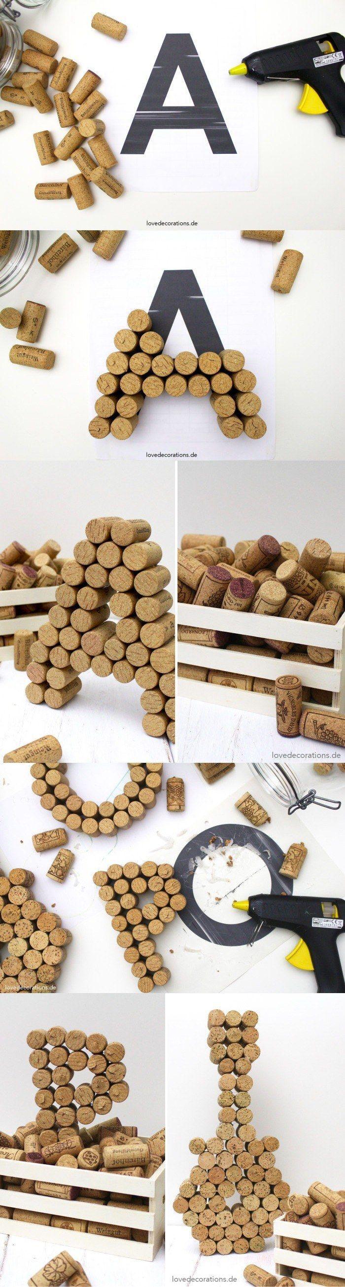 DIY Wine Cork Letters -lovedecorations.de- Letras para decorar con corcho #manualidades