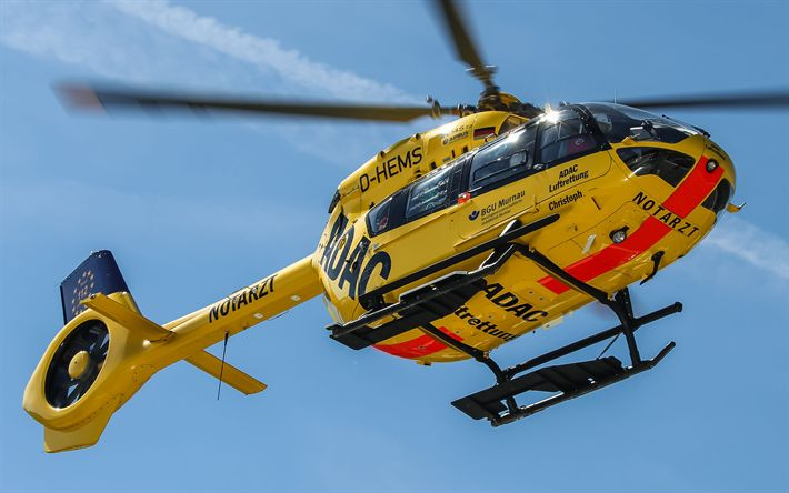 Download wallpapers Eurocopter EC145 T2, 4k, passenger helicopters, EC145, Airbus Helicopters