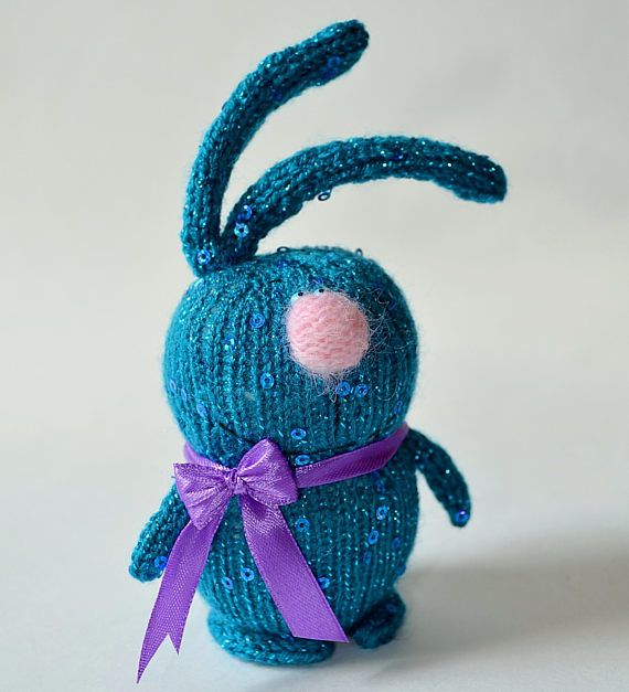 Blue Sequined Bunny doll Amigurumi Toy Miniature Animals