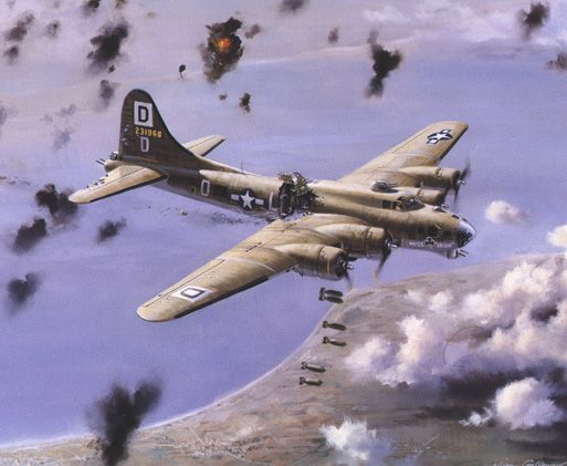 "B-17 named ""Miss Irish"" from the ""Bloody 100th"" Bomb Group continues its mission  despite massive damage in the painting ""Milk Run"" by Nixon Galloway."