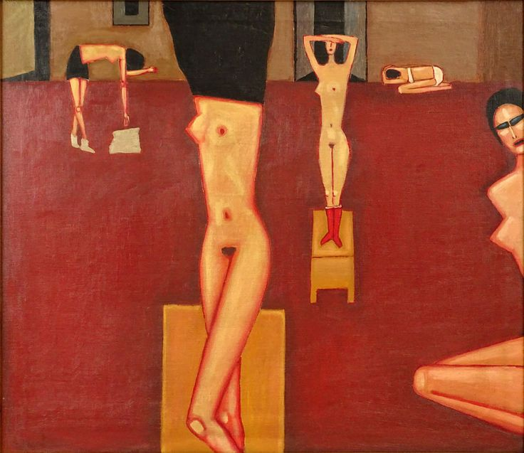 -Jerzy Nowosielski, Polish (1923-2011) Circa 1995 Oil on Canvas, Interior with Nudes. Signed and Dated 1995 en verso. Krakow, Poland government label en verso, possibly an export permit.