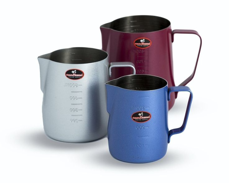 These milk jugs are powder coated on the outside and stainless steel on the inside.    They are sure to bring some colour into your café as they come in RED, BLUE and SILVER. They are great to identify your milk at a glance (ie. Red=full cream Blue=light Grey=soy), no more colour taping or writing on jugs!