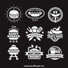 Emblemas Burger Vetor grátis