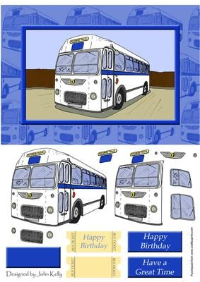 Step by step A5 card ideal for sending Birthday greetings to a bus driver, travel or motor enthusiast. Sheet complete with sentiments and bus tickets! Check out my other items including more original artwork & designs.