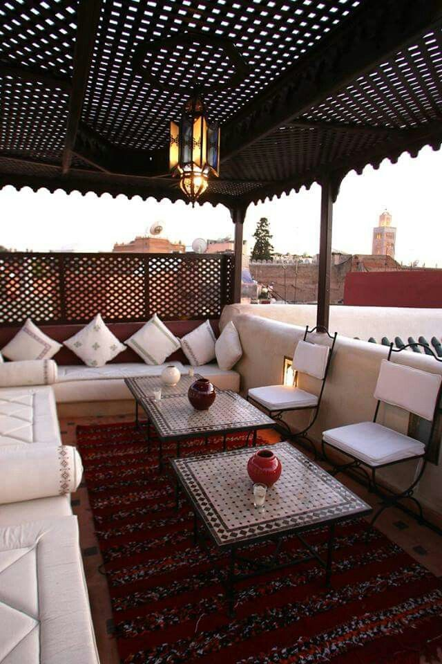 A Moroccan terrace overlooking the koutoubia in
