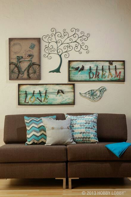 Wall Decor - Hobby Lobby - love the green + chocolate brown