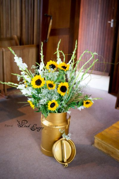 Stunning vintage arrangement done in Polokwane, Limpopo - 6 Feb 2016. Sunflowers and succulent wedding. Floral Design   by www.pinkenergyfloraldesign.co.za