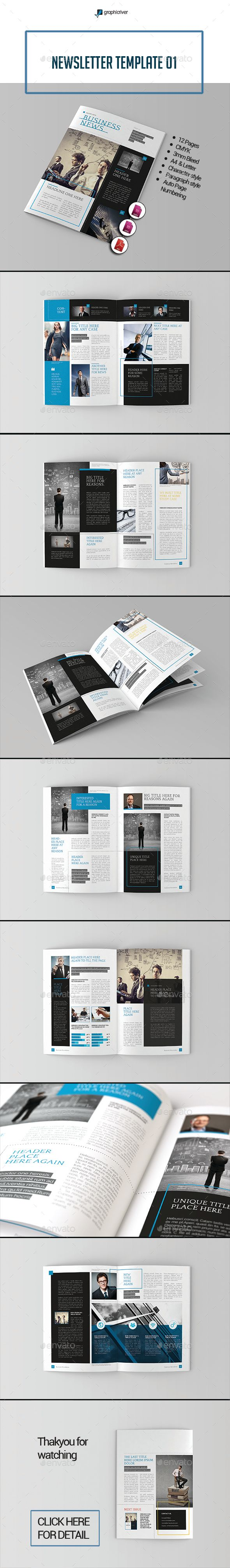 Newsletter Template InDesign INDD #design Download: http://graphicriver.net/item/newsletter-template-01/14048985?ref=ksioks