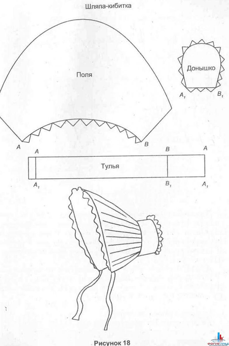 Old-fashioned bonnet {шляпка-кибитка} diagram {pattern may need to be re-sized or adjusted}