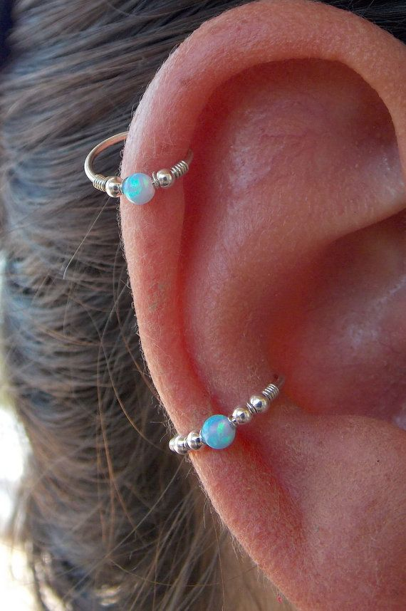 Sterling Silver Conch / Helix / Cartilage Hoop Ring piercing, Beaded Helix Hoop, Helix Jewelry, Opal conch ,  conch jewelry