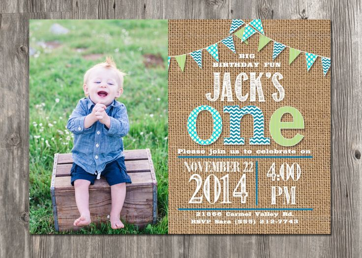 First Birthday Invitation - Boy's 1st Party Invite - Rustic - Burlap, Banner, Printable, Blue, Green, Teal, Vintage, Invitations Invites Boy by 4MustardSeeds on Etsy https://www.etsy.com/listing/210042840/first-birthday-invitation-boys-1st-party