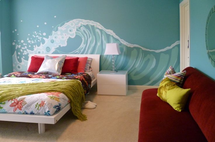 girl's rooms - Sherwin Williams - Holiday Turquoise - Tweenage Ocean wave mural crystal lamp fur shams white leather platform bed cranberry red armless sofa round mirror chrome texture