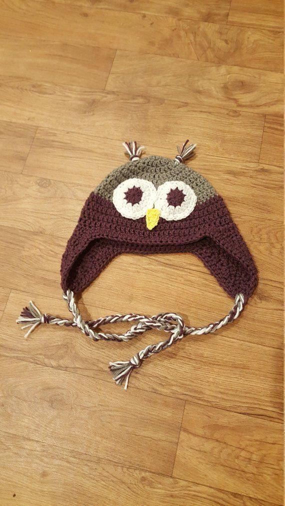 9948e520e17 Crochet Owl Hat - Trapper hat - Kids winter Hat - Sizes Newborn-Adult -  Animal Crochet Hat