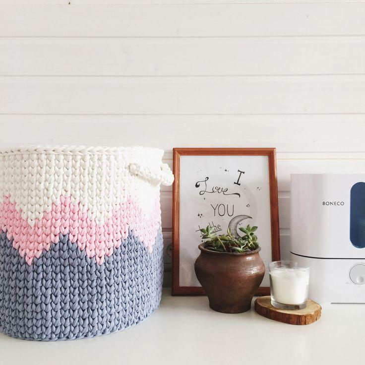 Large crochet basket/Storage basket/Nursery basket/Cotton basket/Grey basket/Pink basket/Nursery decor/Knit basket by MyCozyStudio on Etsy
