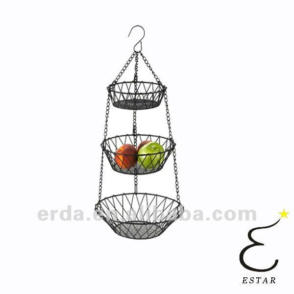 Kitchen 3 Tier Hanging Storage Fruit Basket Vegetable Hanging Holder   Buy  Hanging Fruit Basket,3 Tier Metal Fruit Basket,Fruits And Vegetables Basket  ...