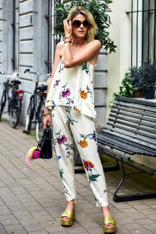 Blogger, Sofie Valkiers shows that she's not afraid of prints or color in her bold floral matching set