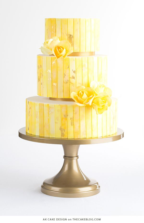 10 Yellow Wedding Cakes | including this design by AK Cake Design | on TheCakeBlog.com
