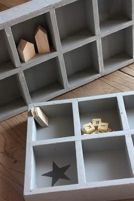 Anciens casiers en bois, etoile