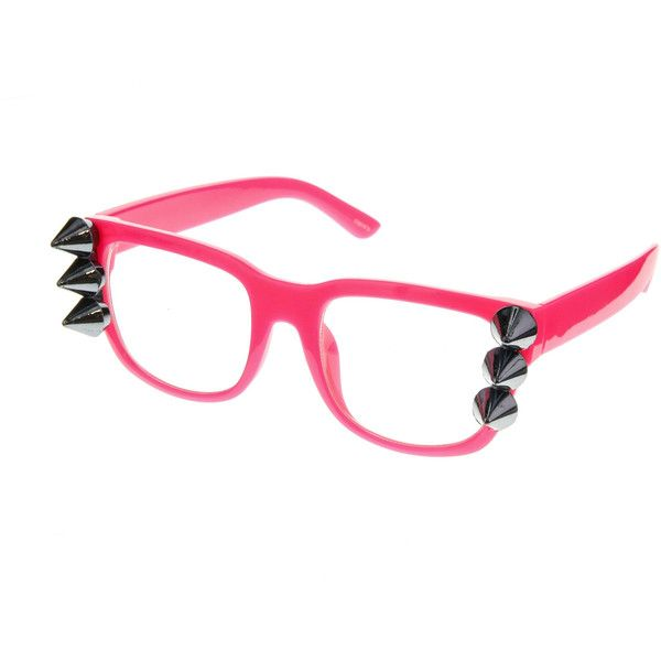 Impress your friends with your on-trend edgy style by wearing these cool neon pink geek glasses. With the metallic spike detail, you can be sure to stand out f…