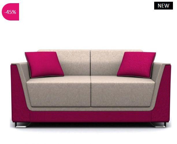 Canapé design 2 places Naomi tissu bicolore