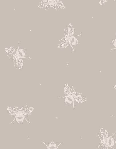 Busy Bees ~ Gustavian Grey Background Wallpaper by www.peonyandsage.com dress with our soft large pink check or grey pinstripe or dots.