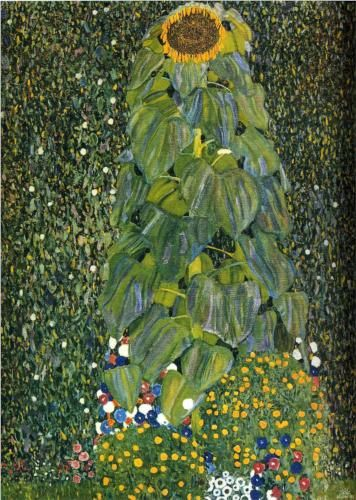 The Sunflower - Gustav Klimt-Look closely at the layered leaves