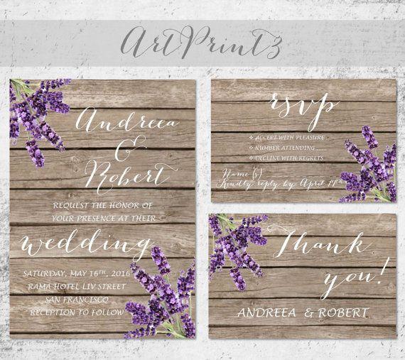 Rustic Wedding Invitation Printable Lavender Wedding by ArtPrint3