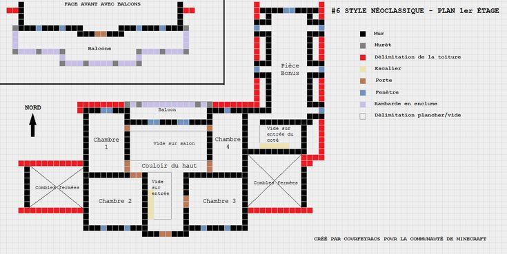 Plan d'un manoir style néoclassique | Minecraft-Constructor