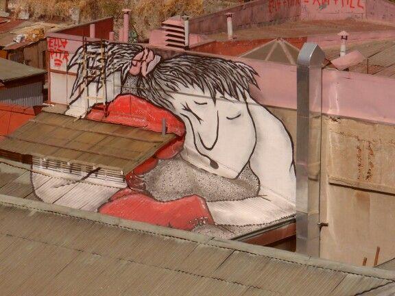 Boxeador durmiendo,Valparaíso, Chile