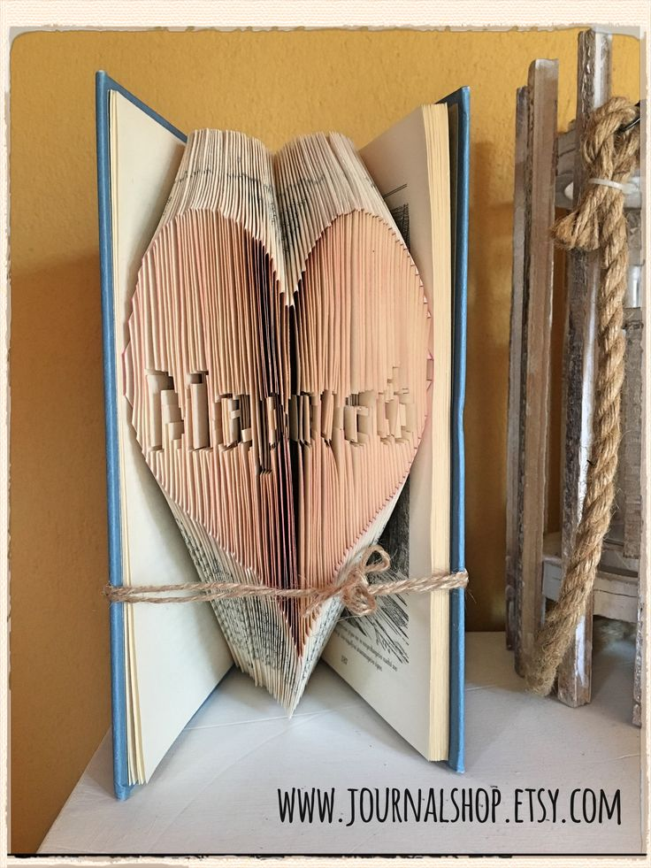 """Bookfolding for a little girl. A heart with her name in Greek: """"Μαρουσώ"""" (Maruso). A beautiful name indeed!"""