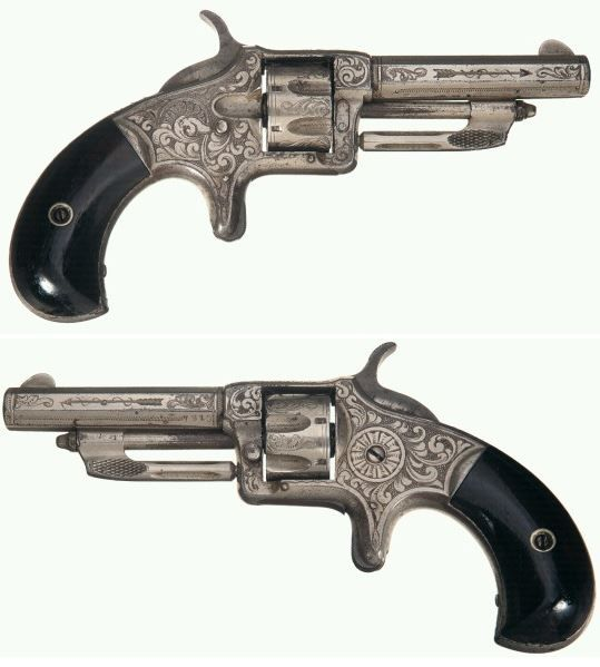 Rare factory engraved Wesson and Harrington No. 2 revolver, late 19th century.