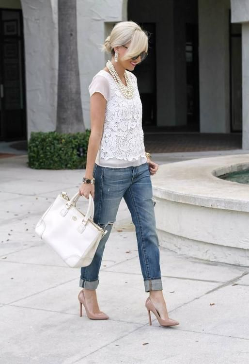 Lace, pearls, and boyfriends jeans