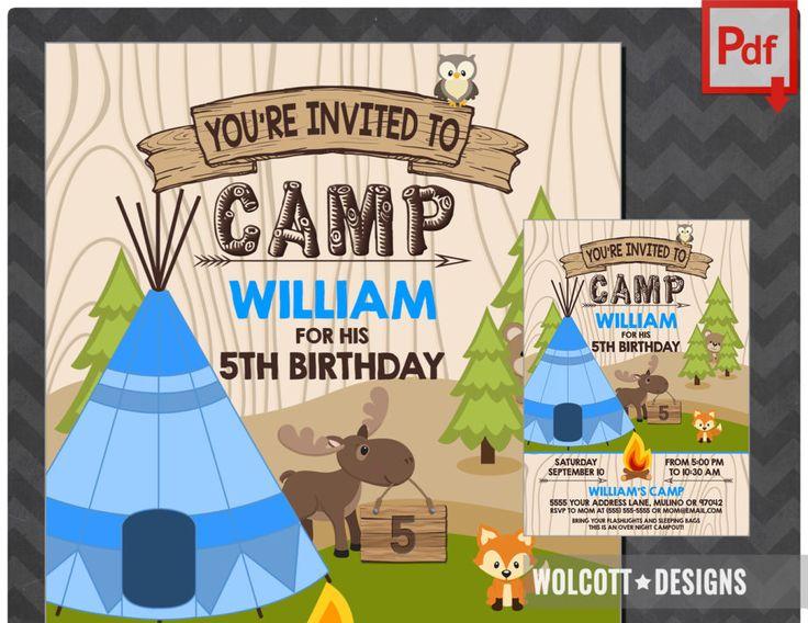 Boys Teepee Birthday Invitation printable or printing invites. #wolcottdesigns